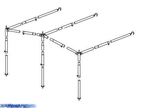 Oceľová konštrukcia k slnečnej clone - kompletná 22 mm